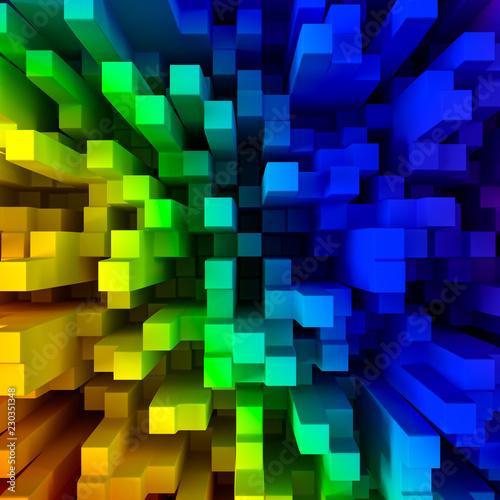 Abstract rainbow blocks background 3D illustration
