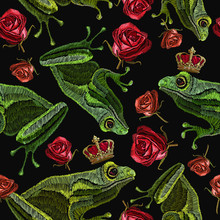 Embroidery Frog And Buds Of Re...