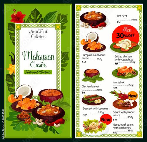 Fotografía  Malaysian cuisine traditional dishes food menu