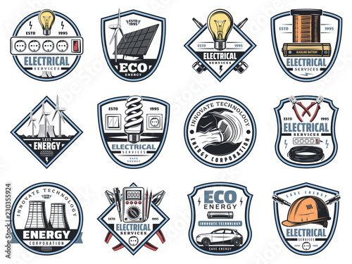 Electricity engineering business service icons