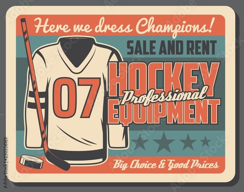 Hockey training uniform and equipment rent poster Canvas-taulu
