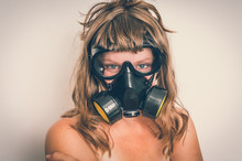 Young Naked Woman With Gas Mask