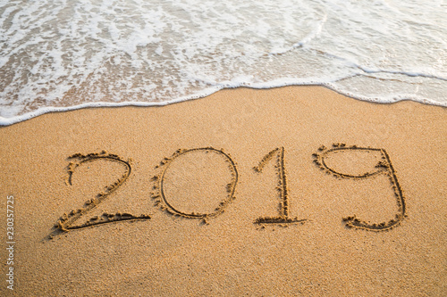 Foto op Canvas Australië Abstract message Year 2019 written on beach sand