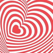 Vector Op Art Heart Background. Optical Illusion. Vector Op Art