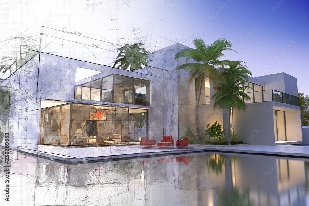 Fototapeta Draft and final rendering of luxurious villa