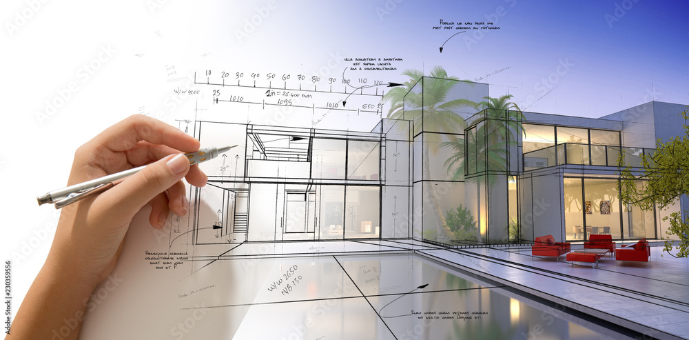 Fototapety, obrazy: Hand drawing a designer villa with pool