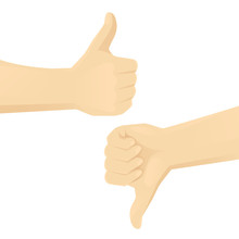 Hands Showing Thumb Up And Thumb Down Isolated Vector Illustration