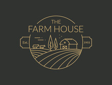 Farm House Outline Logo. Vector Line Emblem.