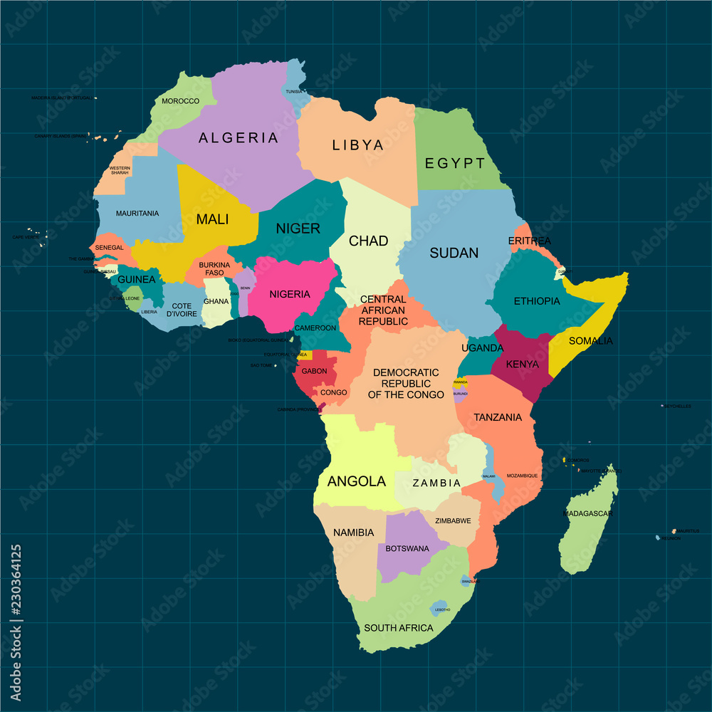 Fototapety, obrazy: Territory of Africa with contour and countrie's isolated color. Vector Illustration