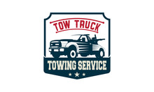 Vintage Car Tow Truck Emblems, Labels And Design Elements