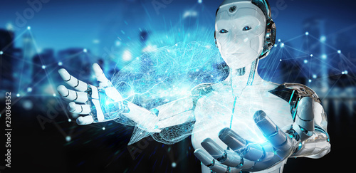 White woman humanoid creating artificial intelligence 3D rendering