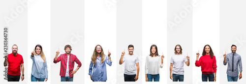 Collage of different ethnics young people over white stripes isolated background showing and pointing up with finger number one while smiling confident and happy.