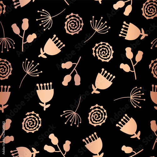 Copper Foil Tulip Flower Vector Seamless Pattern Background Elegant