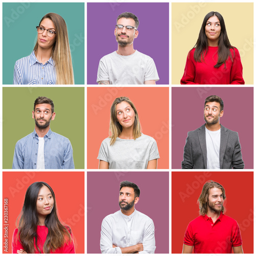 Collage of group people, women and men over colorful isolated background smiling looking side and staring away thinking Canvas Print