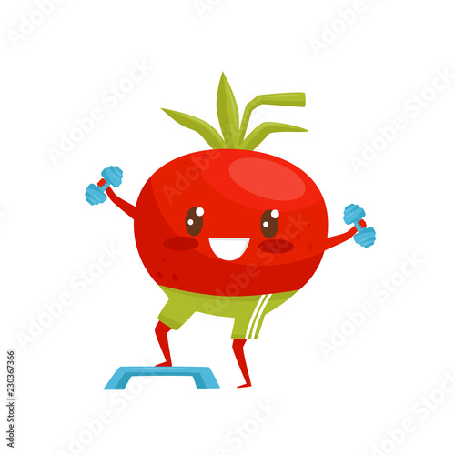 Red Funny Tomato Exercising With Dumbbells Sportive Vegetable Cartoon Character Doing Fitness Exercise Vector Illustration On A White Background Buy This Stock Vector And Explore Similar Vectors At Adobe Stock