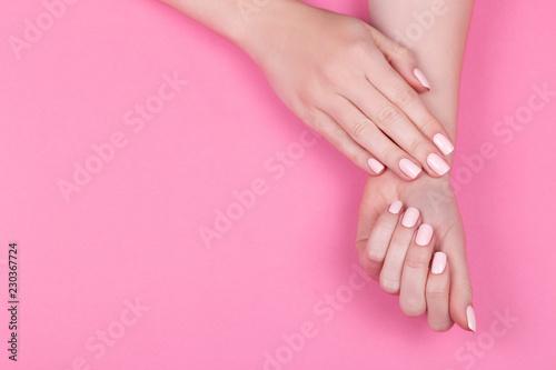 Stylish trendy female pink manicure. - 230367724