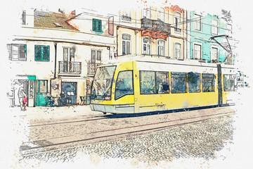 Skica akvarelom ili ilustracijom tradicionalnog tramvaja koji se kreće ulicom u Lisabonu u Portugalu.