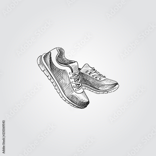 Vászonkép Hand Drawn Sneakers Sketch Symbol isolated on white background