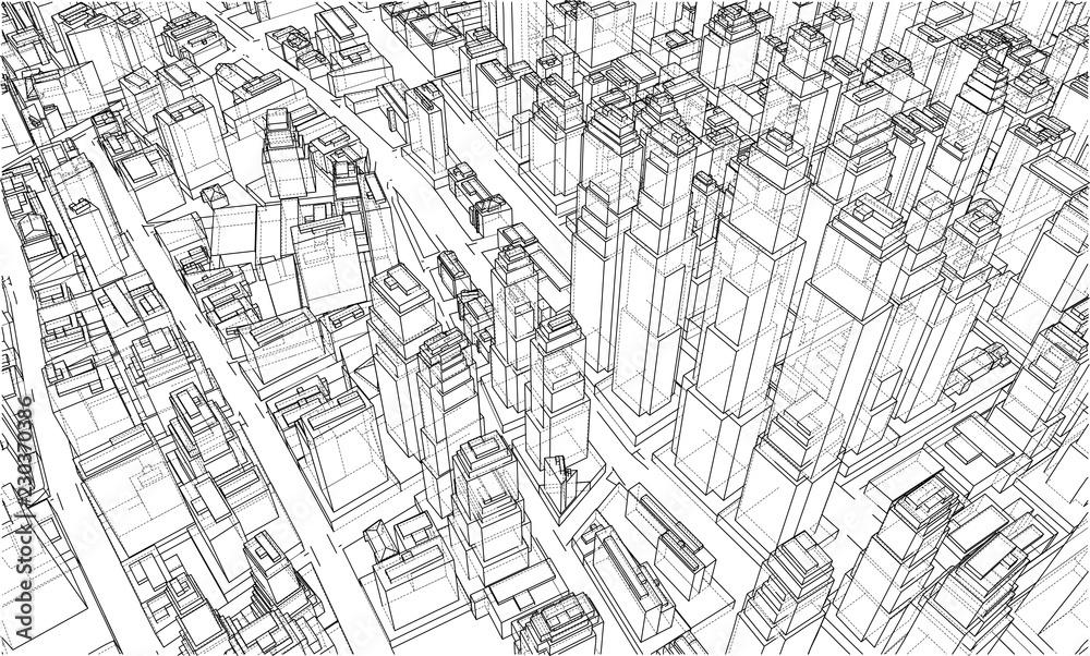 Wire-frame City, styl Blueprint. Wektor