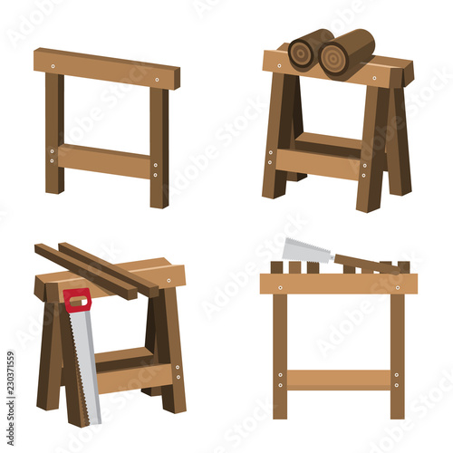 Sawhorses for Carpenters and Joiners with Wood and Saws Canvas-taulu