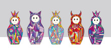 Abstract Girls Characters Vector Illustrations. Hand Drawn Nesting Dolls Set. Matryoshka In Modern Style.