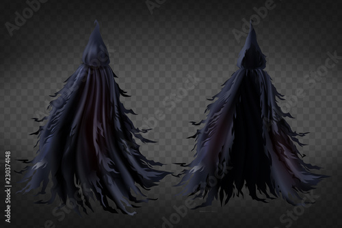 Photo  Vector realistic witch costume with hood, black ragged cape for Halloween party isolated on transparent background
