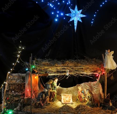 Fotografie, Obraz  Nativity Scene with star