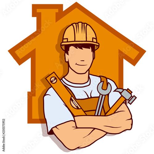 Foto builder worker, building service logo, builder company emblem, vector illustrati