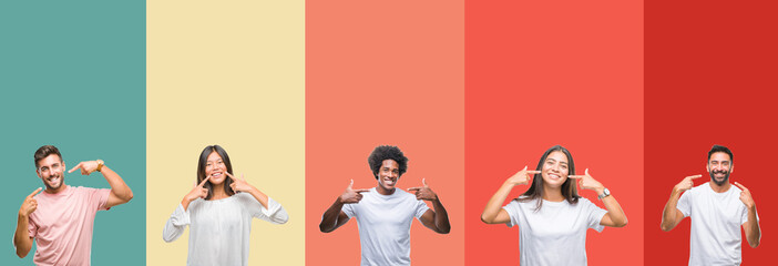 Collage of different ethnics young people over colorful stripes isolated background smiling confident showing and pointing with fingers teeth and mouth. Health concept.