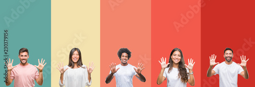 Fotografía Collage of different ethnics young people over colorful stripes isolated background showing and pointing up with fingers number ten while smiling confident and happy