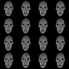 Skull Pattern On Black Background.  Black And White Design.  Halloween Party
