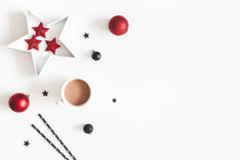 Christmas Black And Red Decorations On White Background. Scandinavian Style. Christmas, New Year, Winter Concept. Flat Lay, Top View, Copy Space