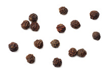 Black Peppercorn Isolated On White Background. Top View