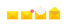 Set Of Envelopes Icons With A Picture Of A Closed Letter. Paper Document Enclosed In An Envelope. Delivery Of Correspondence Or Office Documents. Vector Illustration.