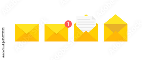 Fotografija Set of envelopes icons with a picture of a closed letter