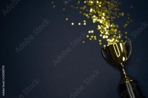 Fotografiet gold winning cup on dark blue background , success concept