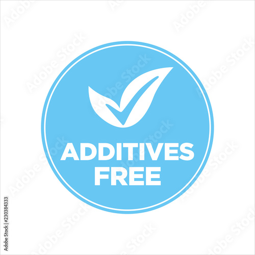 Fototapeta  Additives free. Blue and white round icon.