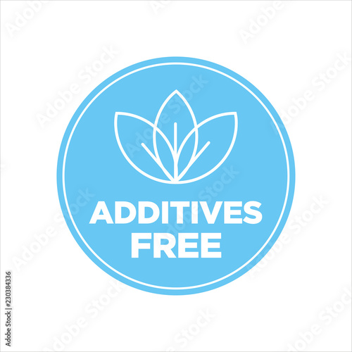 Fotografie, Obraz  Additives free. Blue and white round icon.
