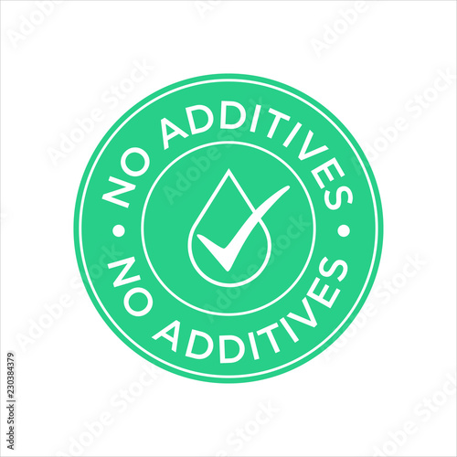 Fotografie, Obraz  Additives free. Green and white round icon.