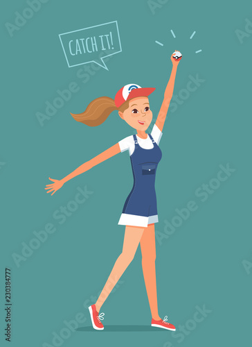 Valokuva  Flat vector illustration of girl with ball in hand