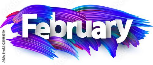 Obraz February banner with blue brush strokes. - fototapety do salonu