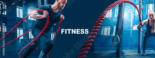 Poster Fitness Collage about man and woman with battle ropes exercise in the fitness gym. CrossFit concept. gym, sport, rope, training, athlete, workout, exercises concept
