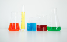 Laboratory Glassware On White ...