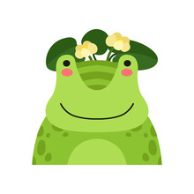 Funny Frog In Wreath Of Lotus Flowers, Cute Cartoon Animal Character Avatar Vector Illustration On A White Background