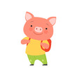 Cheerful tourist pig with backpack, cute animal cartoon character travelling on summer vacation vector Illustration on a white background