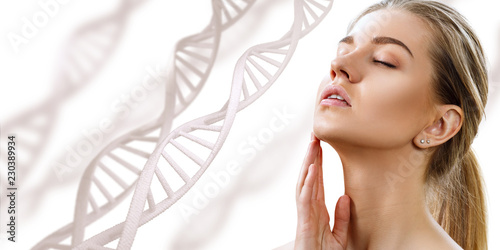 Fotomural Portrait of sensual woman with closed eyes in DNA chains.