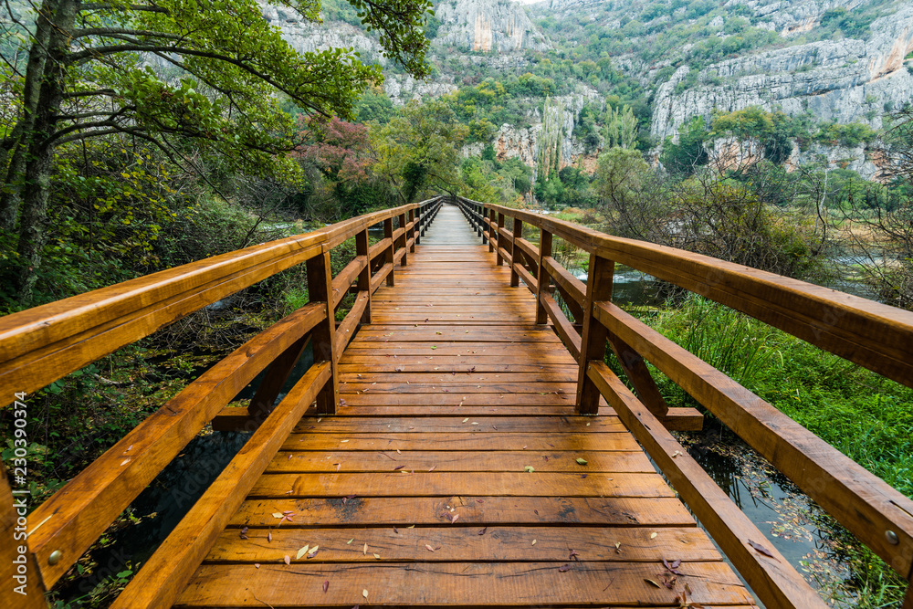 Fototapeta Wooden bridge in Krka National Park,Croatia