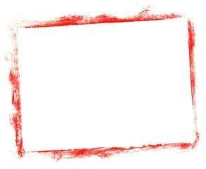 Unordentlich gemalter Kasten mit roter Farbe