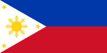 Vector Flag Of The Republic Of Philippines. Proportion 1:2. The National Flag Of Philippines.