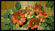 Vector Stained Glass Window With Blooming Dog Rose With Buds.